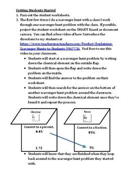 Fractions, Decimals, and Percents Scavenger Hunt Game