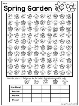 Fractions Decimals and Percents: Spring Garden Math Activity