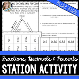 Fractions, Decimals and Percents : Middle School Math Stations