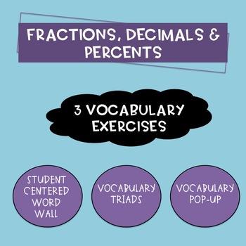 Fractions, Decimals and Percents Vocabulary Activities