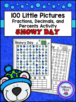 Fractions Decimals and Percents: Winter Math Activity (Snowy Day)