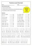 Fractions, Decimals and Percents Worksheets