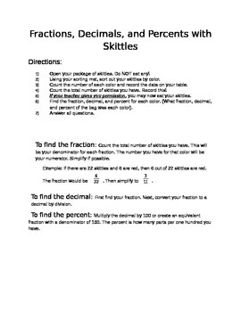 Fractions, Decimals, and Percents with Skittles
