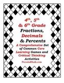 Fractions Decimals & Percents Collection of Activities and Games for Common Core