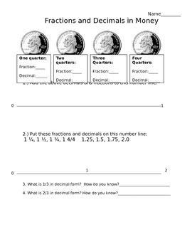 Fractions, Decimals and Quarters: Connecting decimals to real life