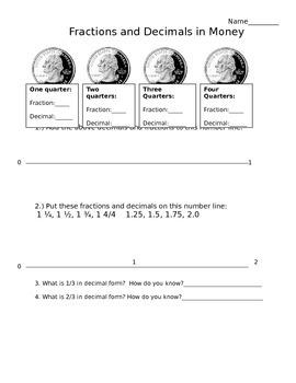 Fractions, Decimals and Quarters: Connecting decimals to r