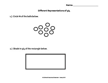 Fractions - Different Representations of 3/4