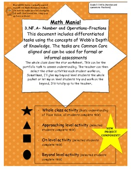 Fractions: Differentiated, leveled activities GRADE 3 DOK Tasks
