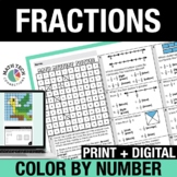 Fractions Digital Color by Code   3rd Grade Mystery Pixel Picture Activities