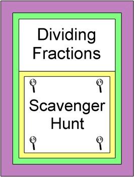 Fractions - Dividing Fractions (Scavenger Hunt / Circuit) 20 Problems
