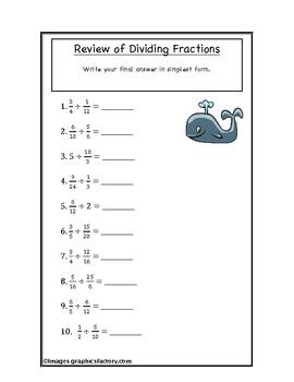 Fractions Dividing Practice