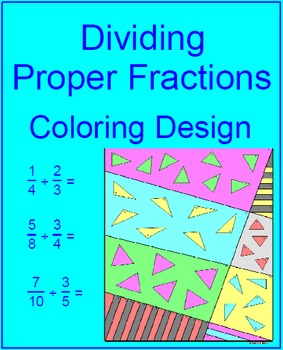 Fractions - Dividing Proper Fractions Coloring Activity