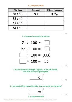Fractions:  Dividing by 10, 100 and 1000