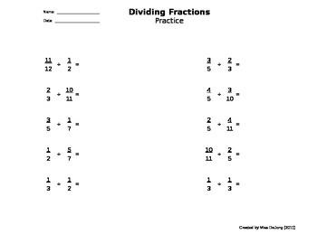 Fractions: Dividing - self-generating worksheet