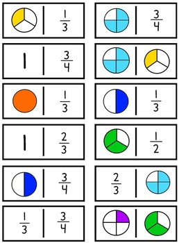 Fractions Domino Game Set