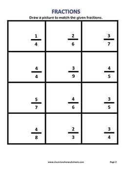 Fractions - Draw a Picture to Match Fractions - Grades 2-4 (2nd-4th Grade)