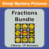 Fractions EMOJI Mystery Pictures Bundle
