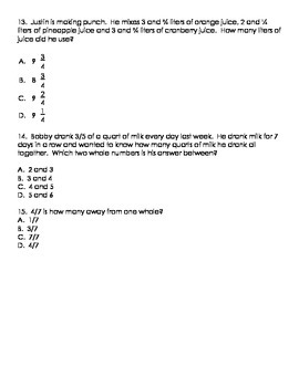 Fractions EOG-style test