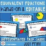 Equivalent Fractions Task Cards Hands-On and Editable