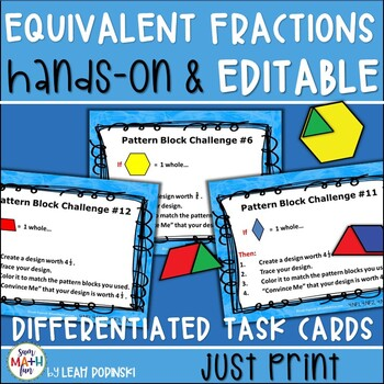 Fraction Activities Hands-On Task Cards Editable