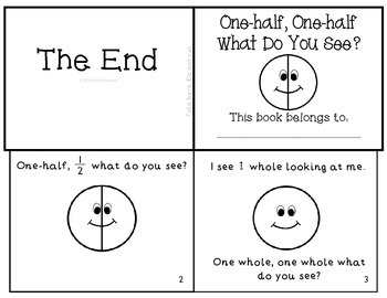 """Fractions Emergent Reader """"One-half, One-half What Do You See?"""" Set of 2"""