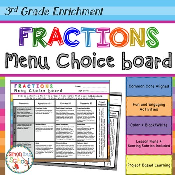 3rd Grade Fractions Choice Board – Enrichment Math Menu