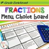 Fractions Enrichment Choice Board – 4th Grade – Distance Learning