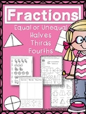 Fractions - Equal or Unequal, Halves, Thirds, Fourths