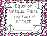 Fractions Equal or Unequal Parts Task Cards or SCOOT