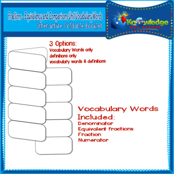 Fractions: Equivalency and Comparisons Voc. Words Interactive Foldables - 3rd Gr