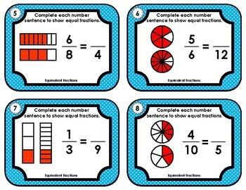 Fraction Task Cards - Equivalent Fractions