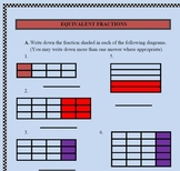 Fractions (Equivalent Fractions) with answers and an assessment