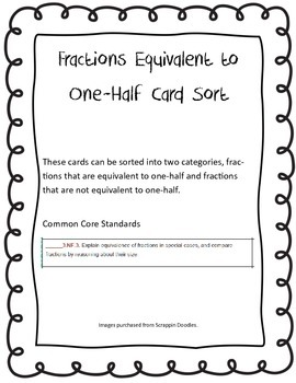 Fractions Equivalent to One Half CCSS 3.NBT.3