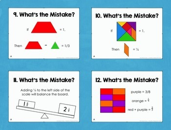Fractions: Error Analysis (Critical Thinking Task Cards for 4th-5th)