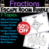 Operations with Fractions Escape Room Math Bundle: Improper, Mixed Numbers, etc.