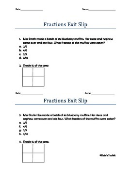 Fractions Exit Slip