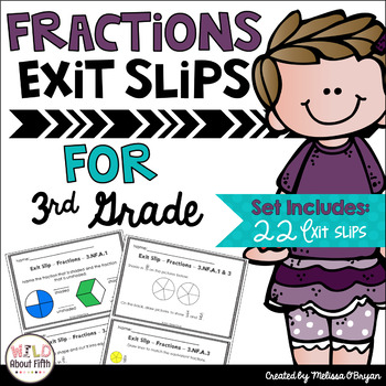 Fractions Exit Slips - 3rd Grade