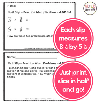 Fractions Exit Slips - 4th Grade