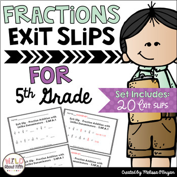 Fractions Exit Slips - 5th Grade