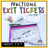 Fractions Exit Tickets - Math Exit Slips - Math Assessment
