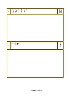 Fractions - Expressions worksheet