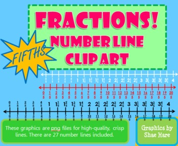 Fractions *FIFTHS* Number Line Clip Art Common Core Math Work Station Center
