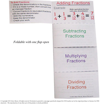 Fractions FOLDABLE for Interactive Notebooks - 2 Options - Both in Color & BW