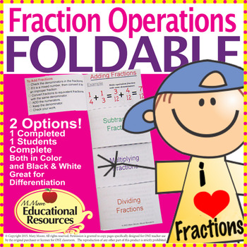 Fractions FOLDABLE for Interactive Notebooks - 2 Options -