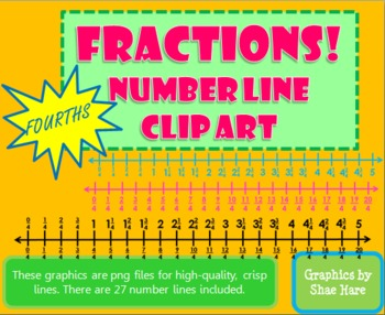 Fractions *FOURTHS* Number Line Clip Art Common Core Math Work Station Center