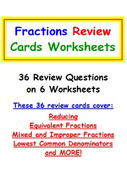 Fractions FREE Review Cards Worksheets PREVIEW