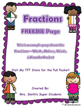 Fractions - Divide the Shapes in Equal Parts - Whole, Halves, Thirds, Fourths