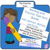 Fractions Task Cards Bundle - Add, Subtract, Multiply, & Divide Fractions
