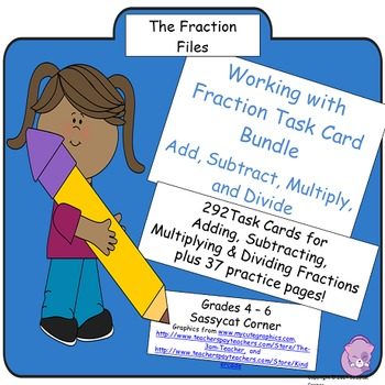 Fractions Task Cards Bundle - Add, Subtract, Multiply, & D
