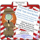 Fractions Task Card Bundle - Simplify, Find Equivalents, Decimals, and more